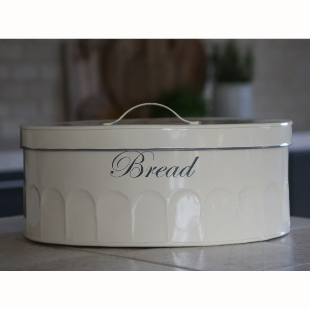 Gl. fransk brødkasse med tekst oval