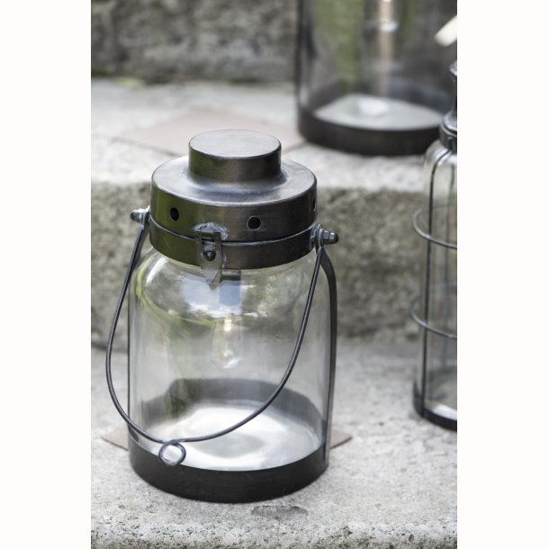 LED Lanterne med metalbund