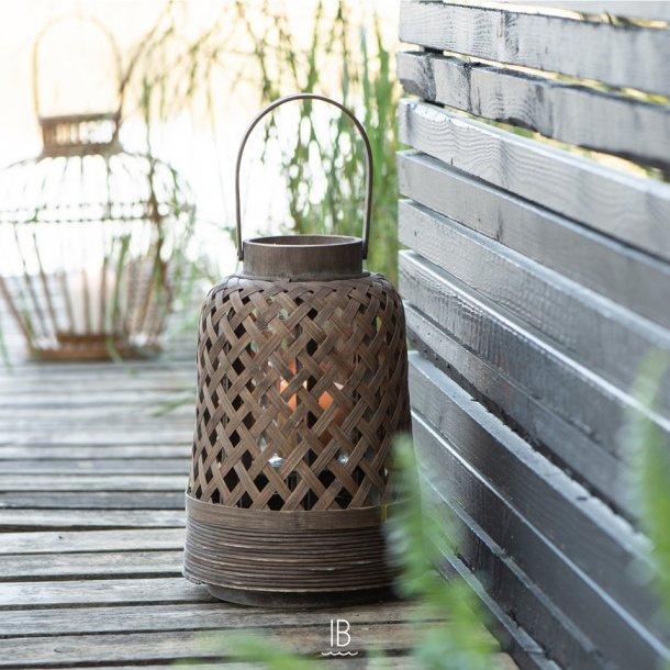 Lanterne bambus m/glasindsats