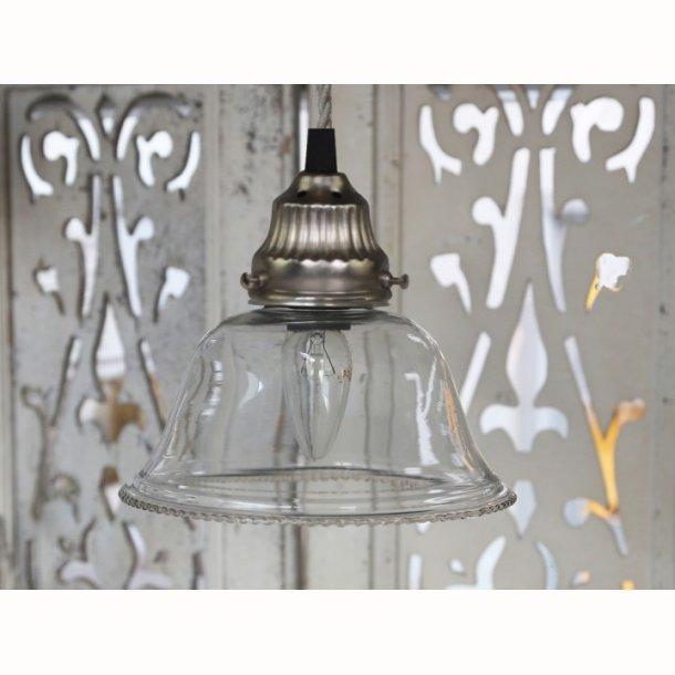 Lampe m. perlekant i glas