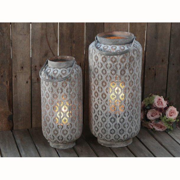 Fransk lanterne m. mønster antique zink
