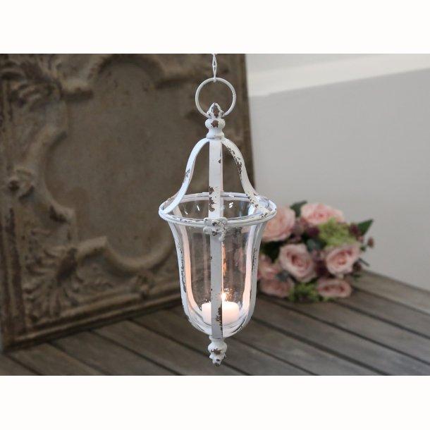 Fransk lanterne m. ophæng antique hvid