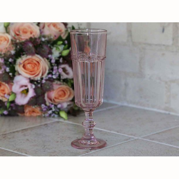 Champagneglas m. perlekant 4 stk.