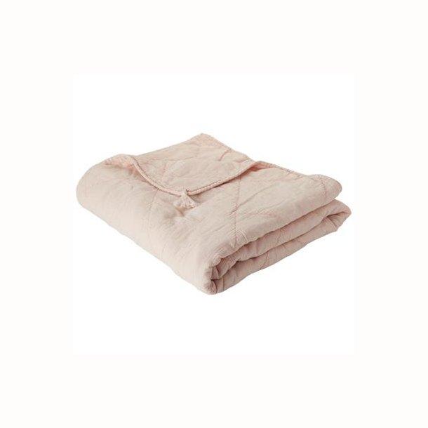 Plaid bomuld m/hørkvaster, sart rosa,