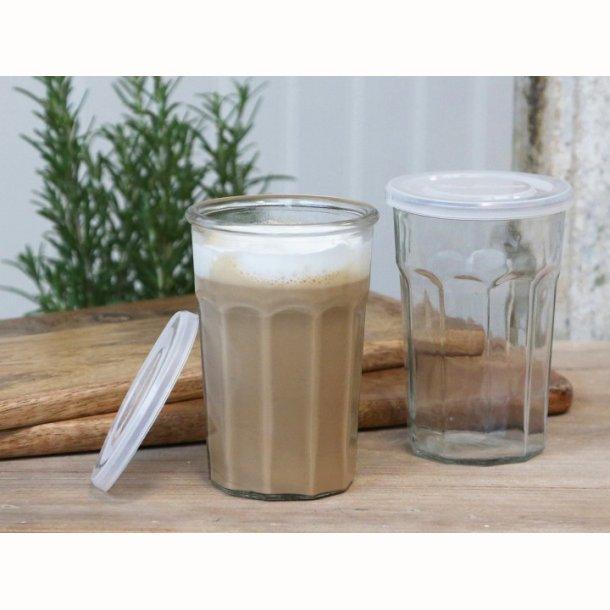Fransk latte Glas m. riller      6 stk.